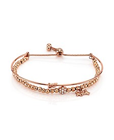 "Rose Gold Tone Fine Plated Silver ""BFF"" Bird and Crystal Flower Charm Bead Bolo Bracelet"