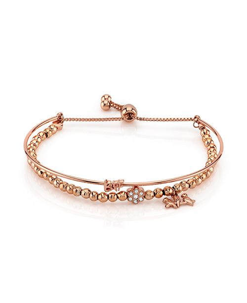 """Unwritten Rose Gold Tone """"BFF"""" Bird and Crystal Flower Charm Bead Bolo Bracelet"""