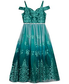 Big Girls Ombré Glitter Damask Gown