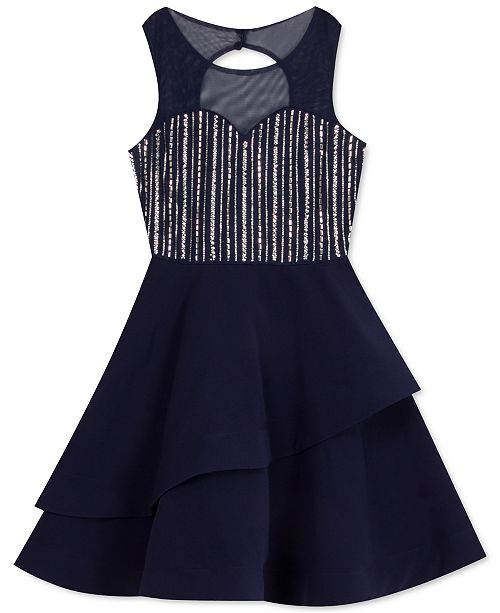 Rare Editions Big Girls Embellished Illusion Dress
