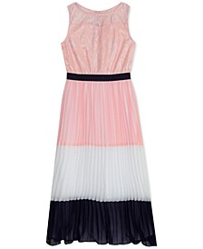 Big Girls Lace & Pleated Chiffon Maxi Dress