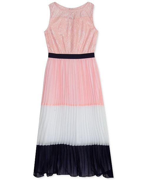 Rare Editions Big Girls Lace & Pleated Chiffon Maxi Dress