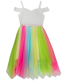 Big Girls Cold-Shoulder Neon Mesh Dress