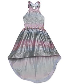 Big Girls Ombré Sparkle High-Low Dress