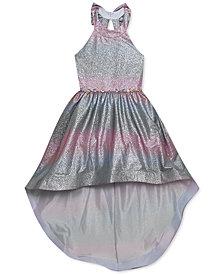Rare Editions Big Girls Ombré Sparkle High-Low Dress