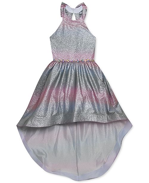 Rare Editions Big Girls Ombré Sparkle High-Low Dress
