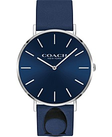 Men's Charles Blue Leather Strap Watch 35mm, Created for Macy's