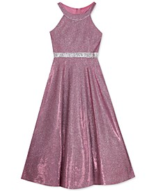 Big Girls Fuchsia Sparkle Gown