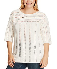 Plus Size Cotton Open-Stitch Boatneck Sweater