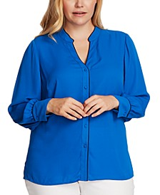 Plus Size Contrast-Trim Button-Up Blouse