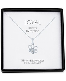 "Diamond Accent Paw Print 18"" Pendant Necklace in Sterling Silver"