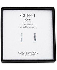 Diamond Accent Bar Stud Earrings in Sterling Silver
