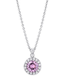 Pink Cubic Zirconia Halo Circle Pendant Necklace in Fine Silver Plate