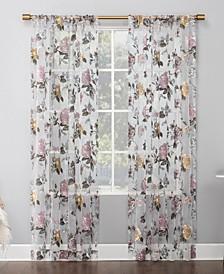 Garden Floral Semi-Sheer Curtain Panel Collection