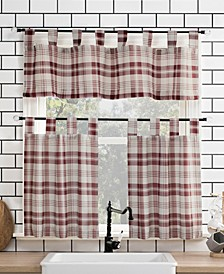 "Blair Farmhouse Plaid 52"" x 24"" Semi-Sheer Kitchen Curtain Set"