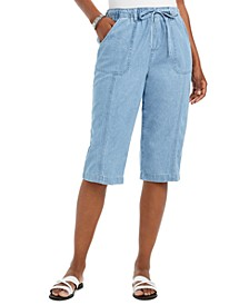 Petite Janae Cotton Drawstring Capri Pants, Created For Macy's