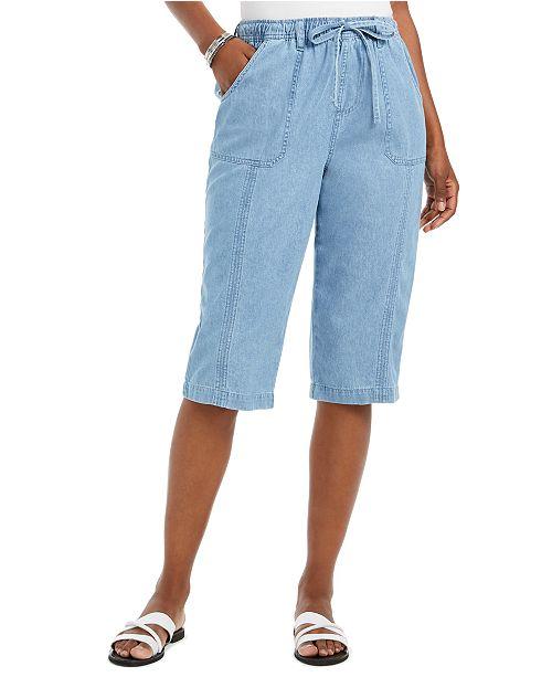 Karen Scott Petite Janae Cotton Drawstring Capri Pants, Created For Macy's