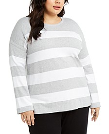 Plus Size Cotton Striped Sweater