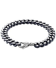 Heavy Curb Link Bracelet in Black Acrylic & Stainless Steel, Created for Macy's