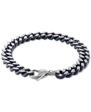 Heavy Curb Link Bracelet in Black Acrylic & Stainless Steel