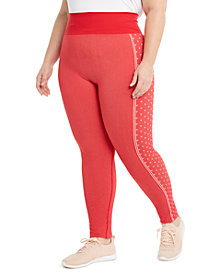 Ideology Plus Size Active Heart-Print Leggings, Created For Macy's