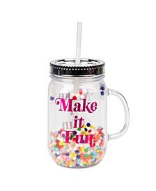 """Plastic """"Make It Fun"""" Pom-Pom Mason Jar with Straw"""
