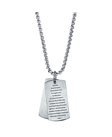 Our Father Prayer Dog Tag Pendant Necklace, 24""