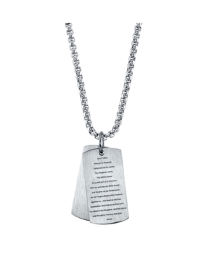 Our Father Prayer Dog Tag Pendant Necklace