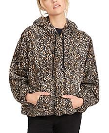 Juniors' Leopard-Print Fleece Hoodie