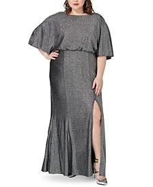 Plus Size Metallic Blouson Gown