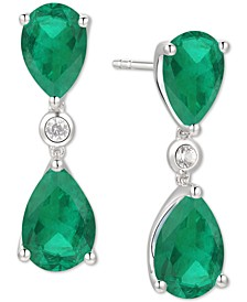 Emerald (3 ct. t.w.) & Diamond (1/10 ct. t.w.) Drop Earrings in 14k White Gold (Also in Certified Ruby)