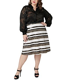 Plus Size Sequined Skirt
