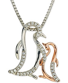 """Diamond Penguin Mother & Child 18"""" Pendant Necklace (1/10 ct. t.w.) in Sterling Silver & 10k Rose Gold"""
