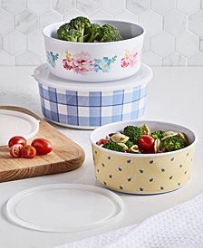 Garden Party Melamine Nesting Food Storage Containers with Lids, Set of 3, Created for Macy's