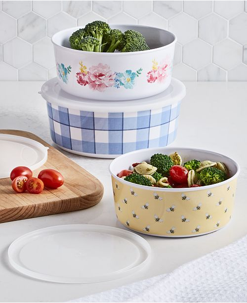 Martha Stewart Collection Garden Party Melamine Nesting Food Storage Containers with Lids, Set of 3, Created for Macy's
