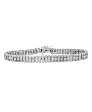 Diamond (1/4 ct. t.w.) Miracle Plate Rolex Bracelet in Sterling Silver