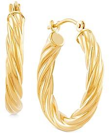Small Rope Tube Hoop Earrings in 14k Gold