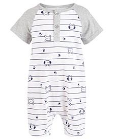 Baby Boys Animal-Print Striped Cotton Sunsuit, Created For Macy's
