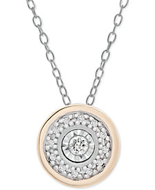 """Diamond Disc 18"""" Pendant Necklace (1/10 ct. t.w.) in Sterling Silver and Gold-Plate"""