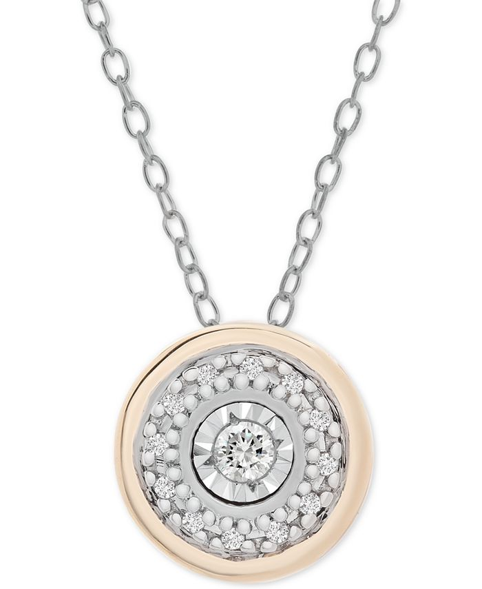 """Macy's - Diamond Disc 18"""" Pendant Necklace (1/10 ct. t.w.) in Sterling Silver and Gold-Plate"""