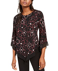 Petite Printed Pointed-Hem Top, Created For Macy's