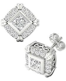 Diamond Princess Halo Stud Earrings (3/4 ct. t.w.) in 14k White Gold