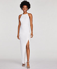 BCX Juniors' Rhinestone Faux-Wrap Gown, Created for Macy's