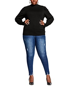 Trendy Plus Size Puff-Shoulder Sweater