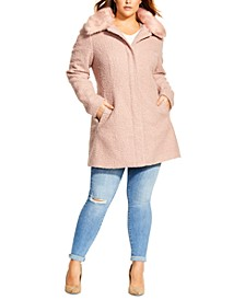 Trendy Plus Size Sweet Dreams Faux-Fur-Trim Coat