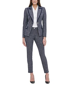 Contrast-Trim Blazer, Knot-Neck Top & Slim-Fit Pants