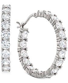 "Cubic Zirconia In & Out Hoop Earrings in Sterling Silver, 1.17"""