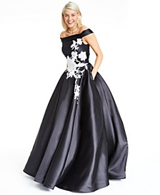 Juniors' Off-The-Shoulder Mikado Gown