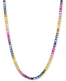 "Cubic Zirconia Rainbow 18"" Statement Necklace in Sterling Silver"