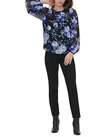 Floral-Print Blouson Top
